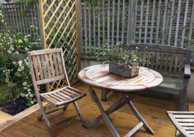 A table for two on the wooden decking